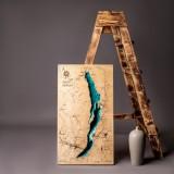 Деревянная рельефная карта озера Байкал 75x42 WOODENMAP ART 2110