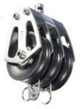 Трехшкивный нержавеющий вертлюжный такелажный блок 60-70mm на подшипниках, с вилкой PEM ART 7532 Triple steel block with ball bearing shaves